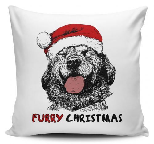 Furry Christmas Dog Sketch Cute Novelty Christmas Cushion Cover